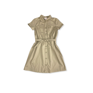 Girls' Sourdough Beige Uniform Safari Dress - Crabapple