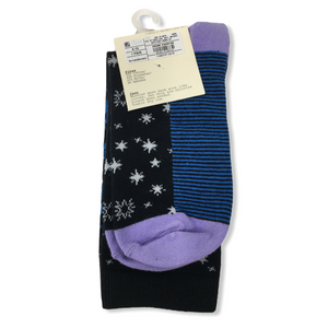 Women's Cotton Blend Blue/Violet Crew Socks - Crabapple