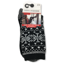 Load image into Gallery viewer, Women's Black Snowflake Crew Socks - Crabapple