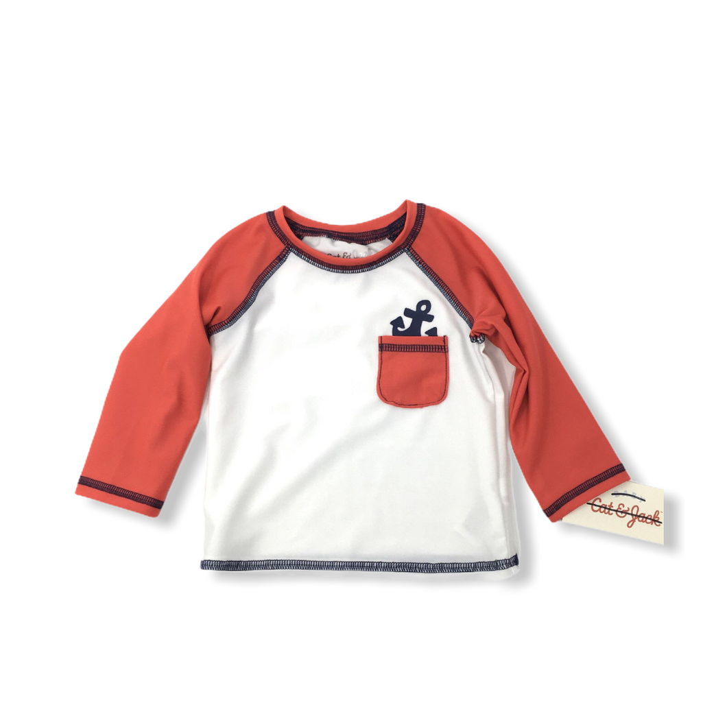 Baby White with Red Sleeves Anchor Swimshirt - Crabapple