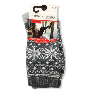 Women's Grey Snowflake Crew Socks - Crabapple