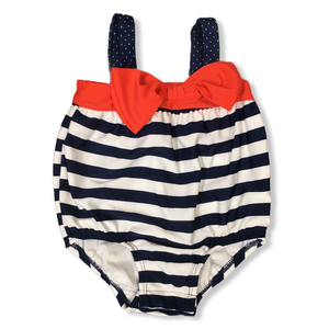Baby Red White and Blue Striped Bathing Suit with Bow - Crabapple