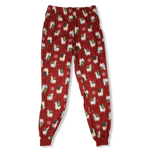 Women's Christmas Llama Pajama Pants - Crabapple