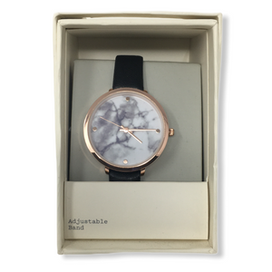 Women's Brown Leather Band/Rose Gold Marble Face Watch - Crabapple