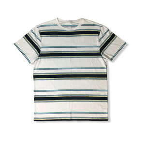 Men's White with Navy Striped Short Sleeve Shirt - Crabapple