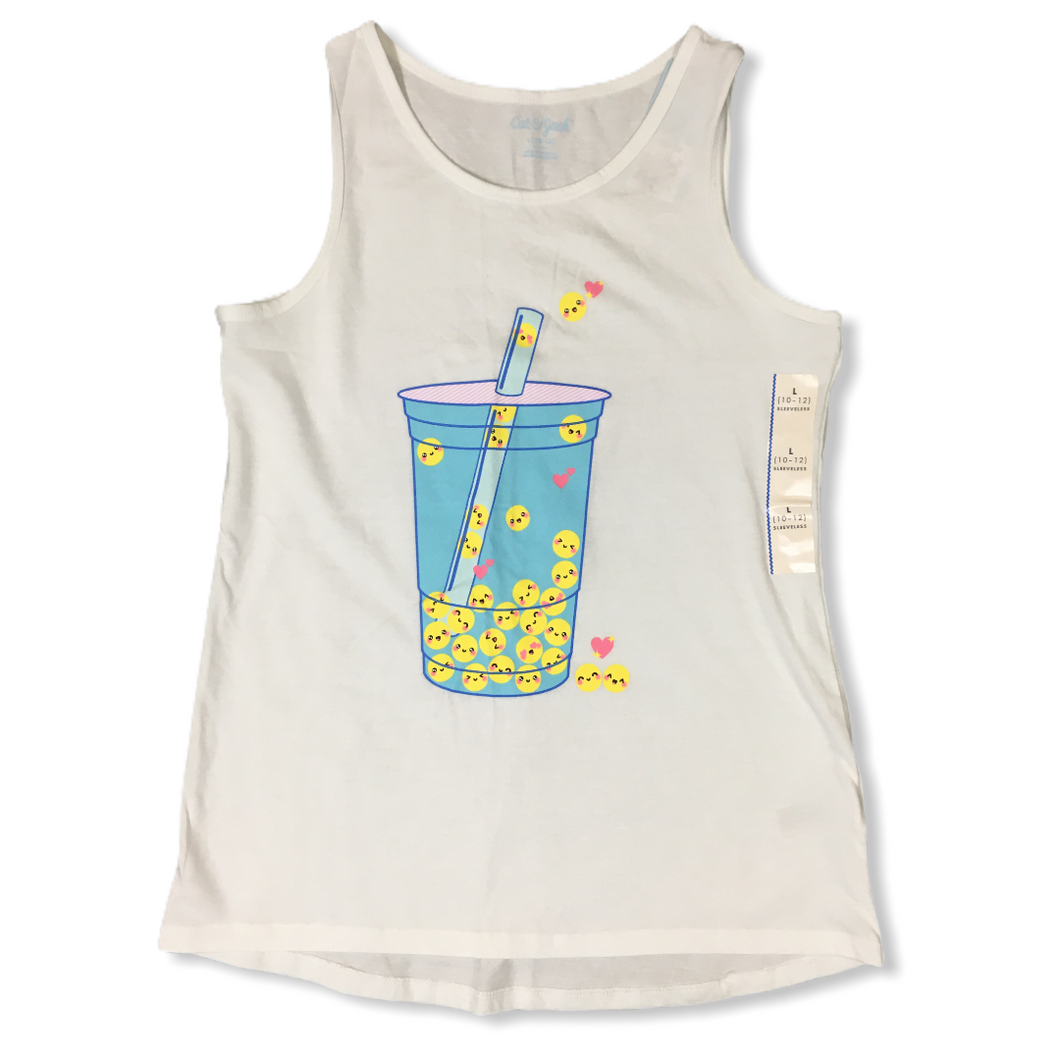 Girls' White Emoji Drink Tank Top - Crabapple