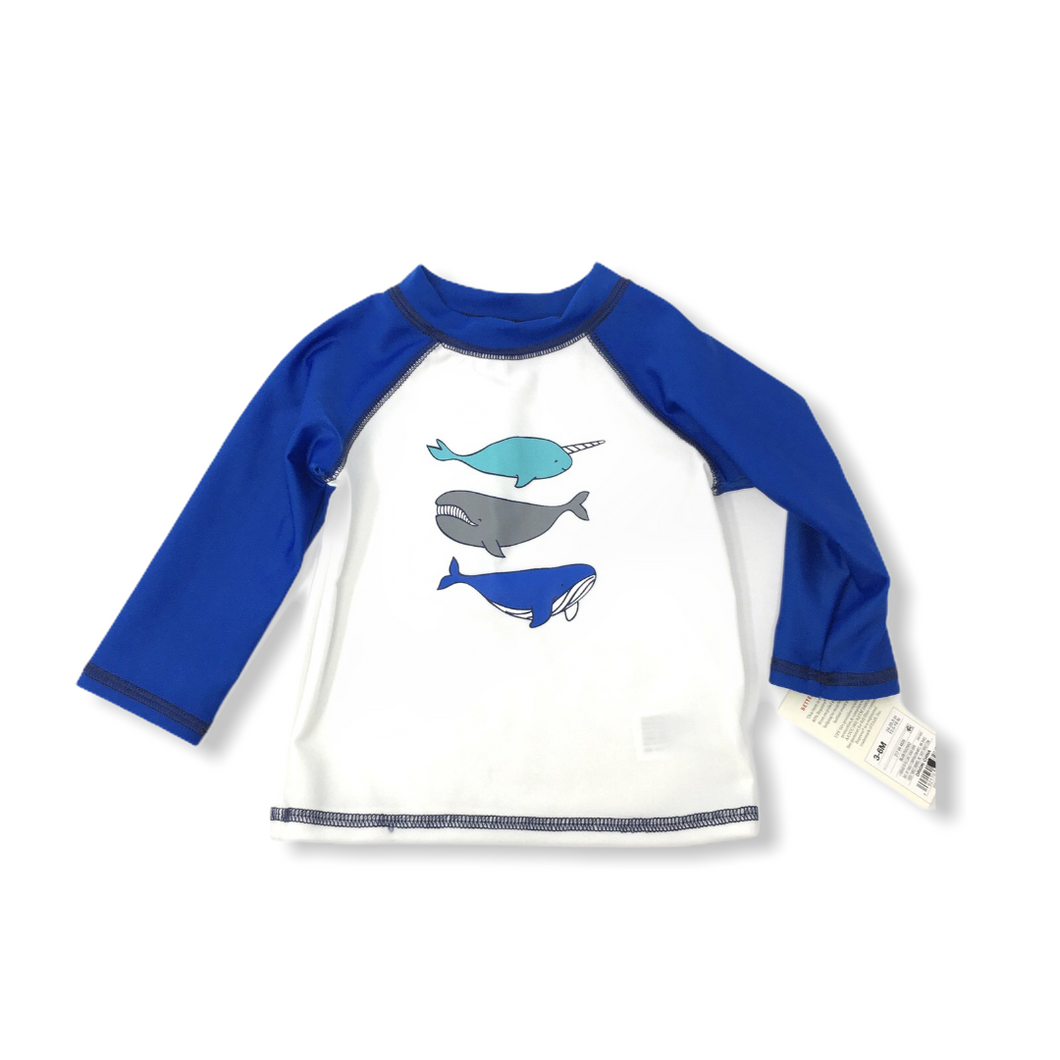 Baby Blue and White Whales Swimshirt - Crabapple