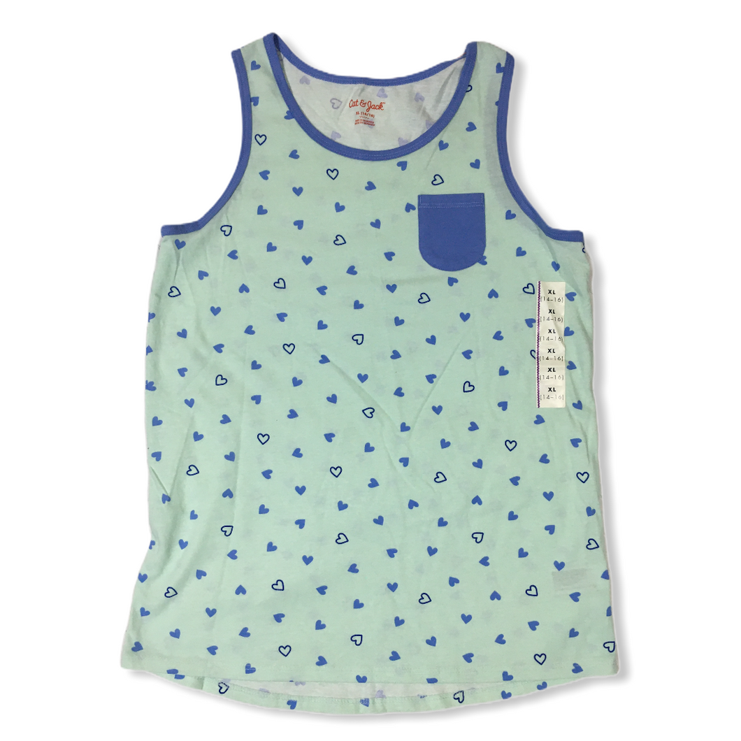 Girls' Green with Blue Hearts Tank Top - Crabapple