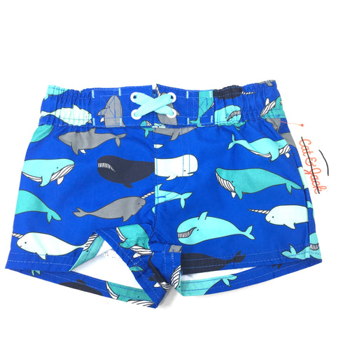 Baby Blue Whale Swimsuit Shorts - Crabapple