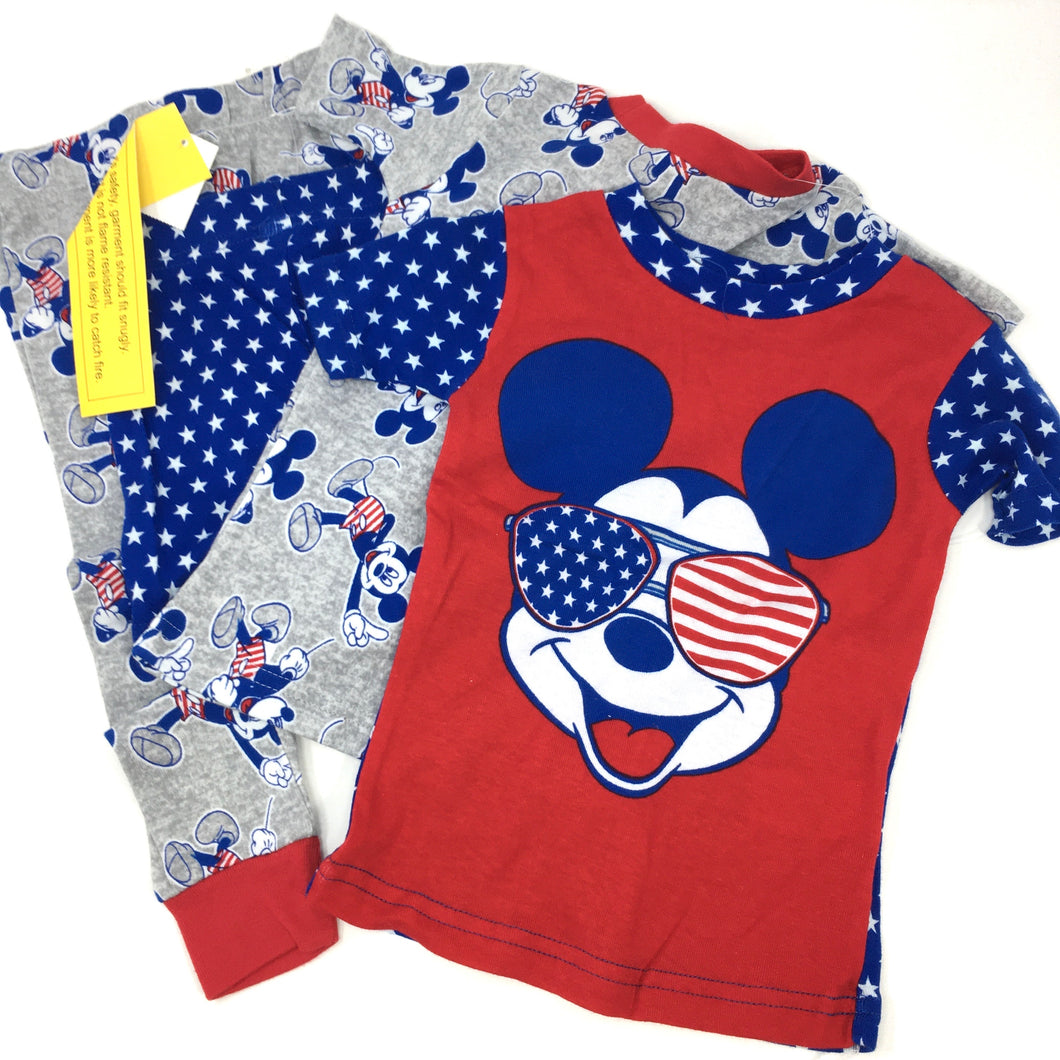 Toddler America Mickey Mouse 4 Pc Pajama Set - Crabapple