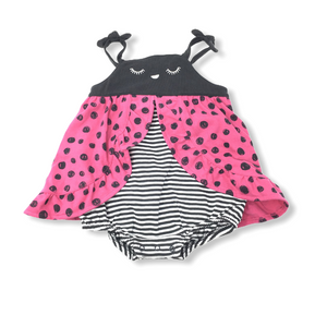 Baby Pink with Black Polka Dots Ladybug Romper - Crabapple