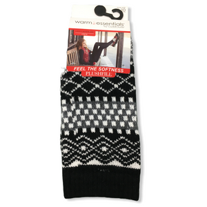 Women's Black/Grey Pattern Crew Socks - Crabapple