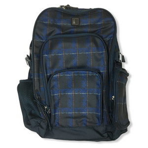 Navy and Plaid Backpack with Padded Laptop Sleeve - Crabapple