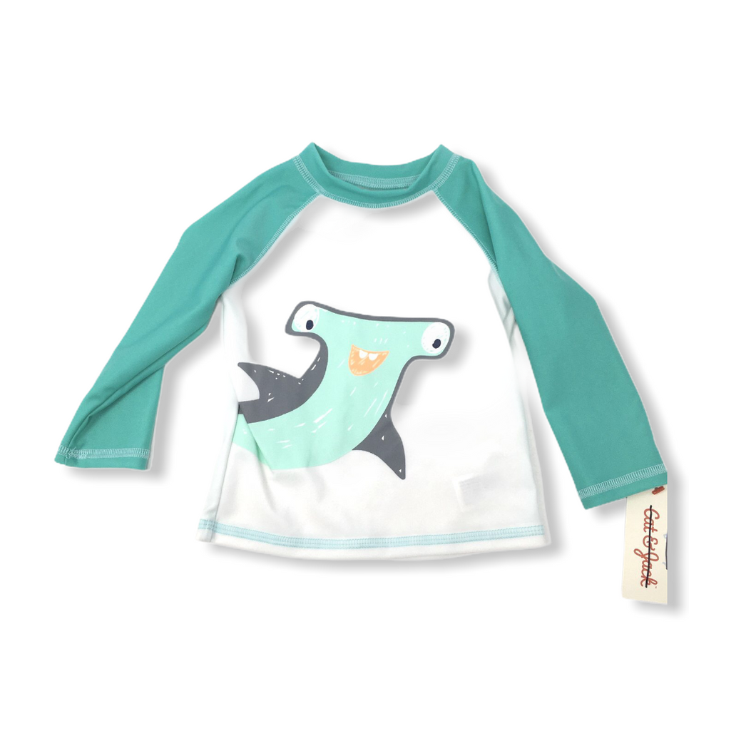 Baby White with Teal Sleeves Hammerhead Swimshirt - Crabapple