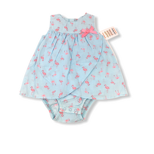 Baby Blue with Pink Flamingos Romper - Crabapple