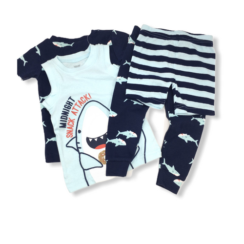 Baby Navy Shark 4 Piece Pajama Set - Crabapple