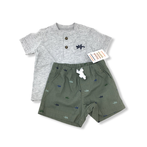Baby Grey Shirt with Green Shorts Gecko 2 Piece Set - Crabapple