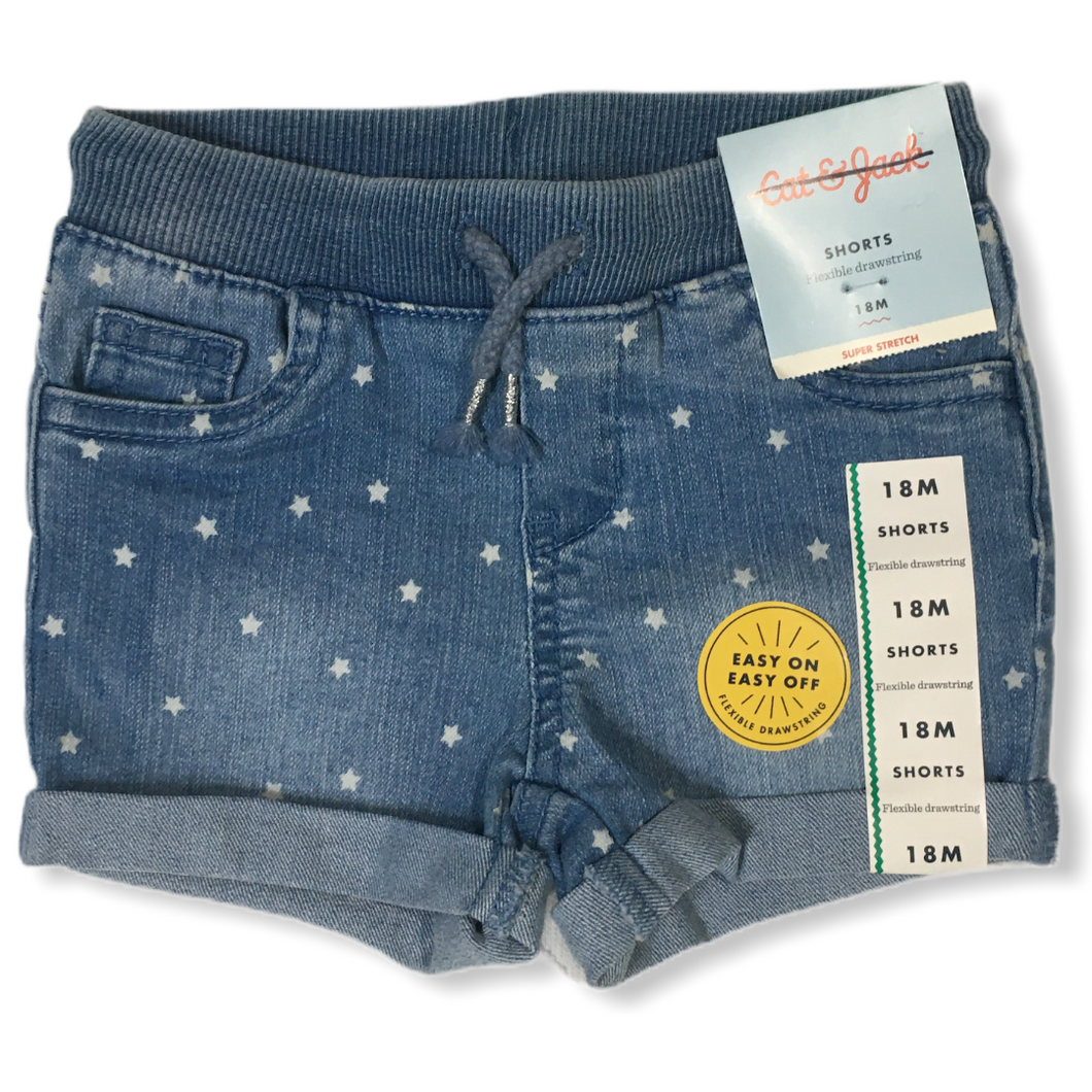 Baby Denim Shorts with White Stars - Crabapple