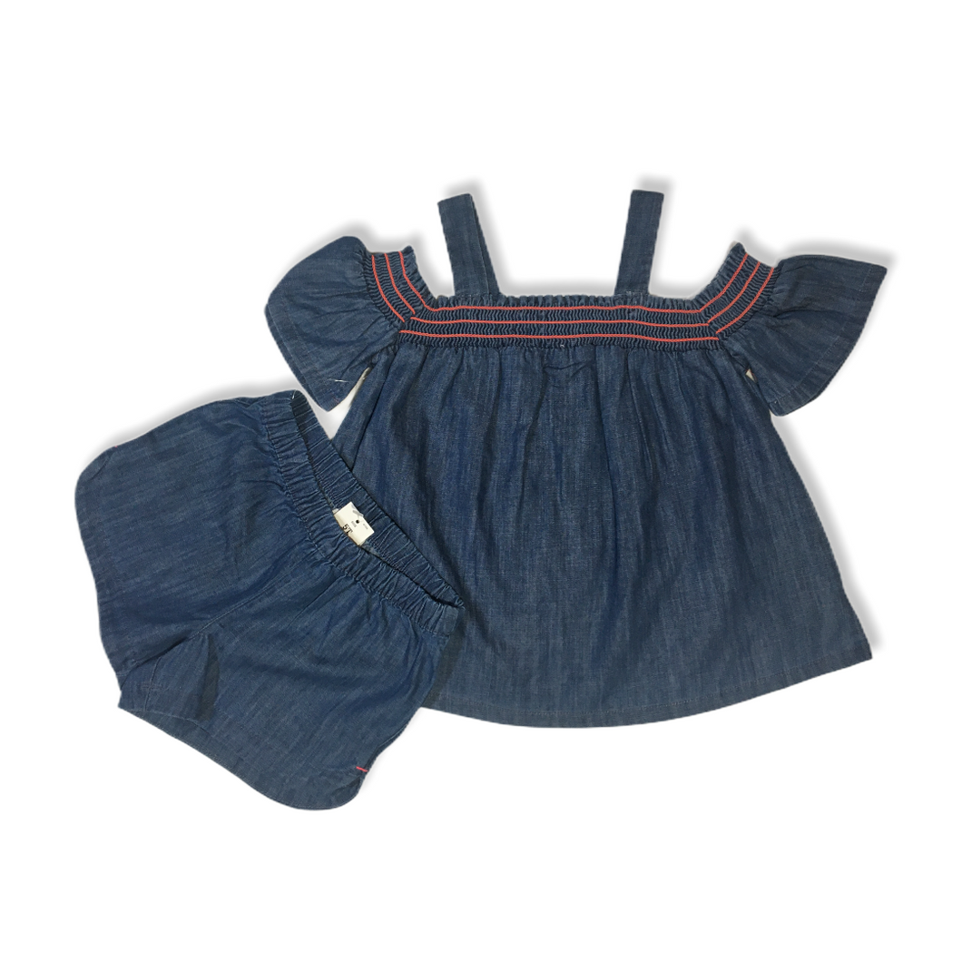 Toddler Blue Denim 2 Piece Set - Crabapple