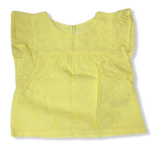 Baby Yellow Daisy Eyelet Top - Crabapple