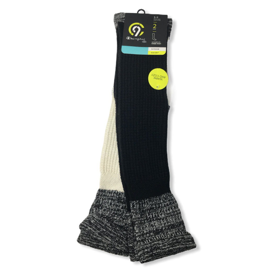 Women's Knee High Black & Cream Outdoor Socks - 2 Pair - Crabapple