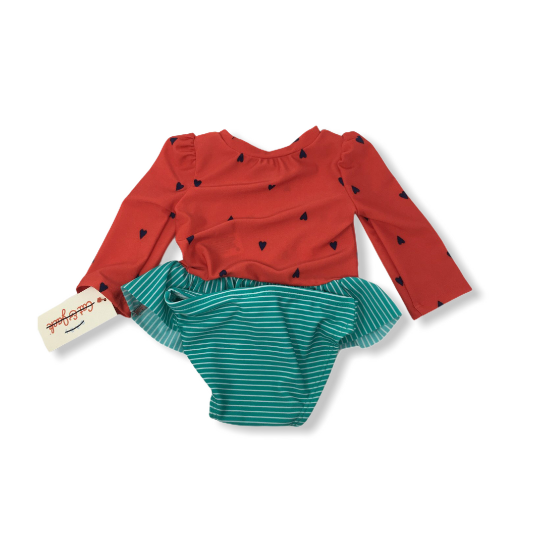 Baby Red with Navy Hearts and Green Striped Bottoms Swimsuit - 2 Piece - Crabapple