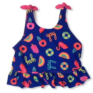 Girls' Blue/Pink Swimsuit Top - Crabapple