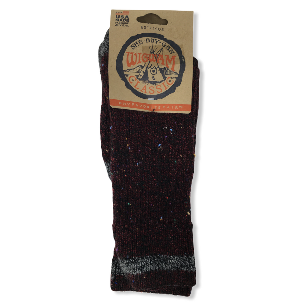 Unisex Cotton Blend Fireside Burgundy Crew Socks - Crabapple