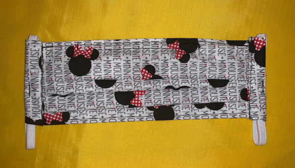 CHILD SIZE - Black and White Minnie Face Mask