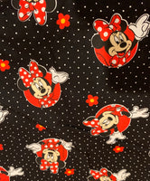Red and black Minnie polka dot face mask