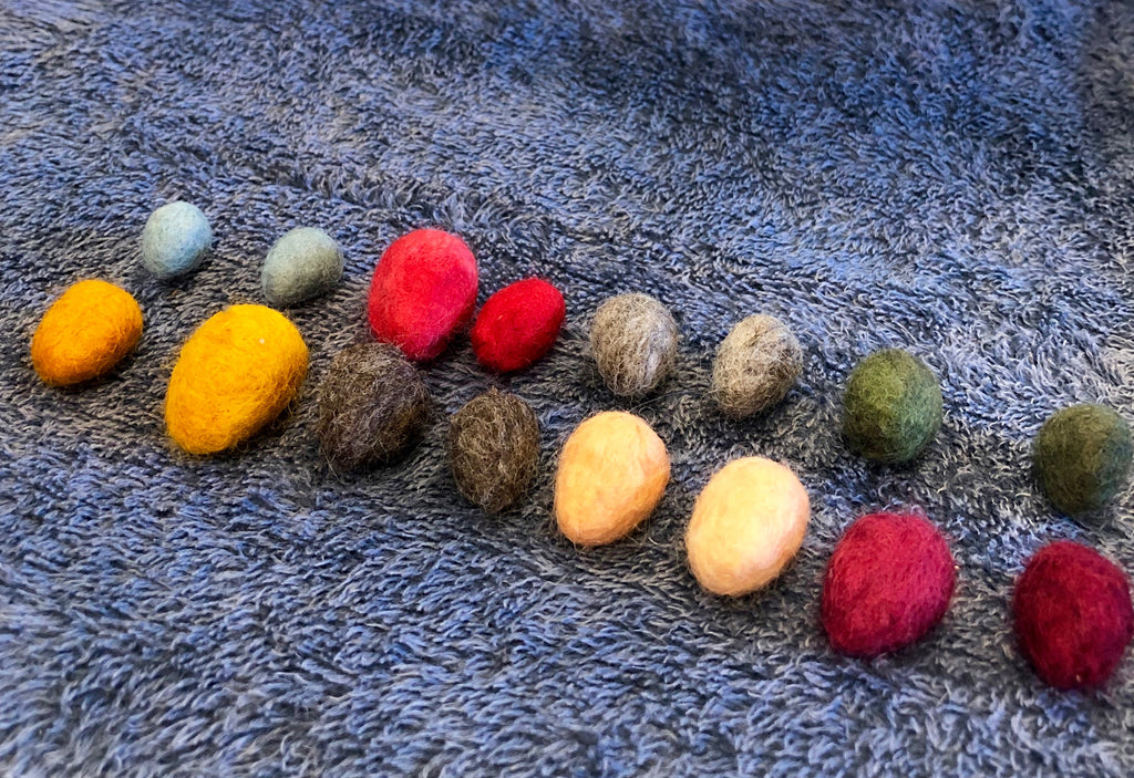 Drying Felted Acorn Pom Poms