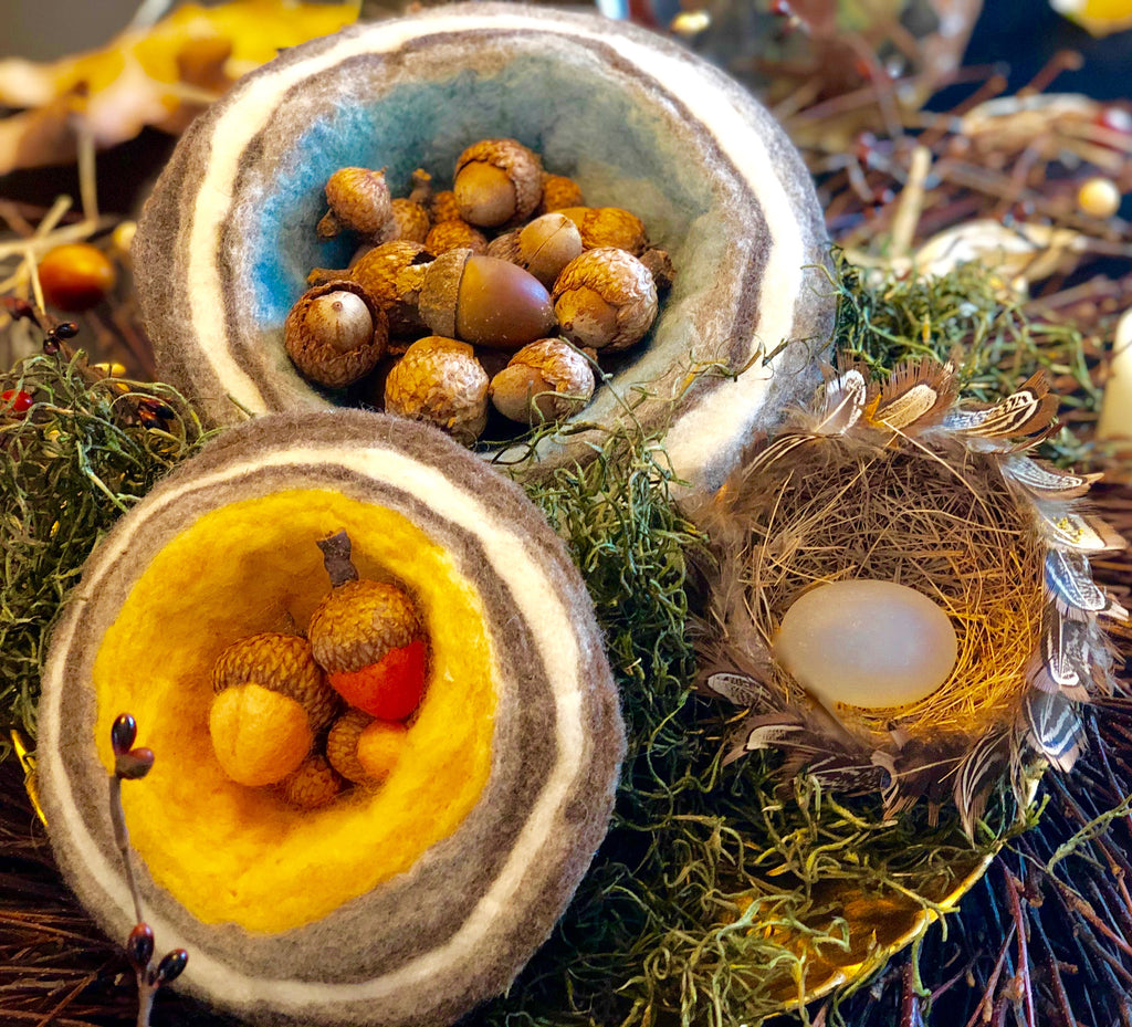 Felted Acorn Bowl Display