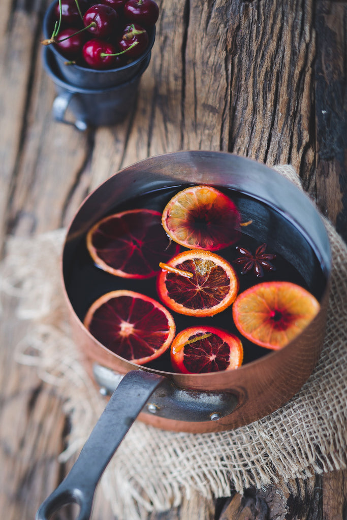 Pot of Simmering Spices and Orange Slices