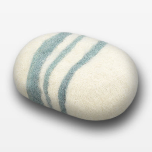 Lavender Sage Striped Felted Soap White