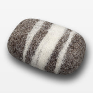 Lavender Striped Felted Soap Brown