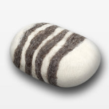 Load image into Gallery viewer, Lavender Striped Felted Soap White