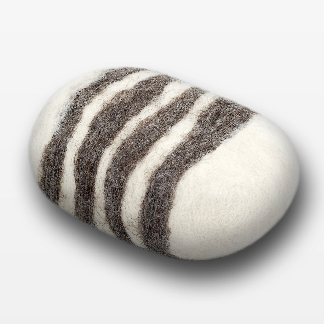 Lavender Striped Felted Soap White