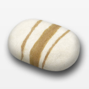 Lemon Ginger Striped Felted Soap White