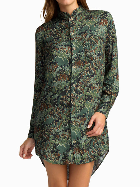 It's Not You, It's Me Button Man Shirt Dress in GI Joe camo print