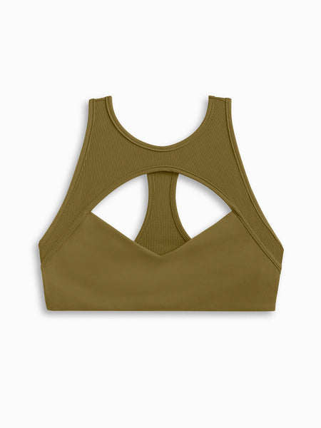 Meg Ryan high neck sporty bikini top in Army solid with ribbed neck