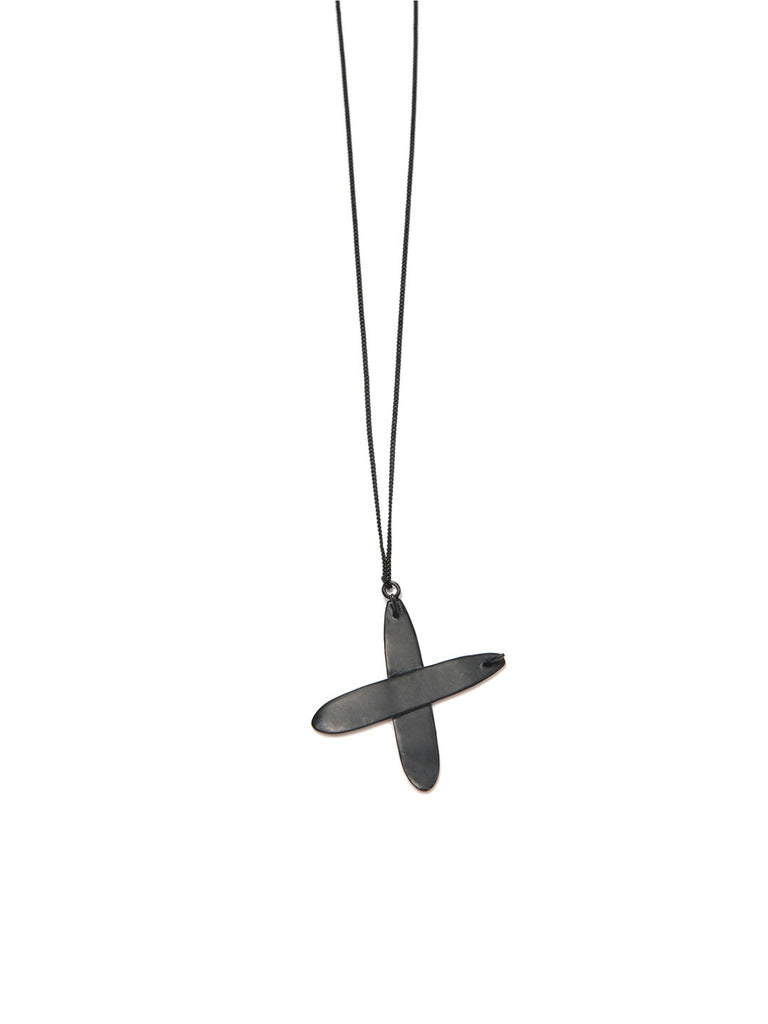 PRAY FOR WAVES NECKLACE MATTE BLACK - Venessa Arizaga