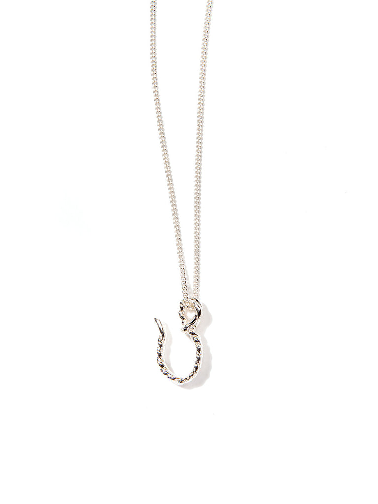 BIG HOOKER NECKLACE SILVER - Venessa Arizaga
