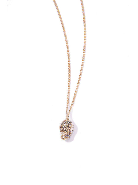 FLORAL SKULL NECKLACE GOLD