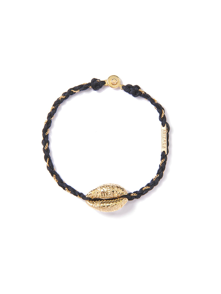 COWRIE SHELL BRACELET BLACK & GOLD