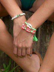 PALM TREE SHELL BRACELET (NEON PINK AND GREEN)