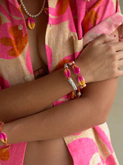 BEACH BUM SHELL BRACELET (PINK AND YELLOW)