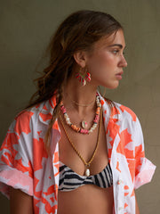 PALM TREE SHELL NECKLACE (NEON PINK)
