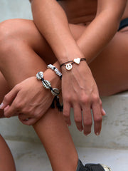 PEACE AND LOVE BRACELET SET (BLACK)