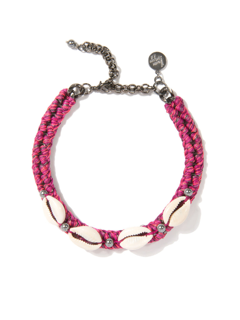 SHELL WE DANCE? CHOKER (MAGENTA) NECKLACE - Venessa Arizaga