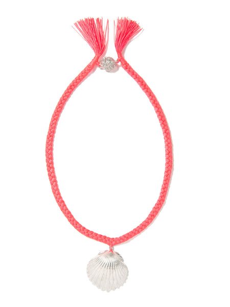 WHAT THE SHELL? SCALLOP NECKLACE (CORAL)